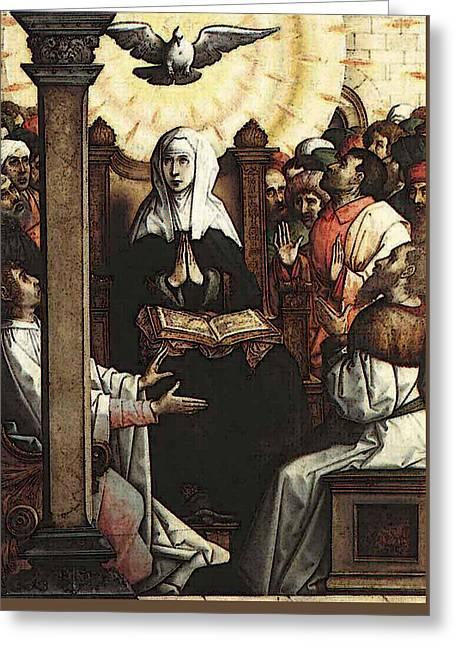 Juan De Flandes Pentecost Greeting Card