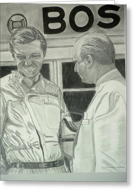 Juan Manuel Fangio And Graf Berghe Von Trips Greeting Card by Antje Wieser