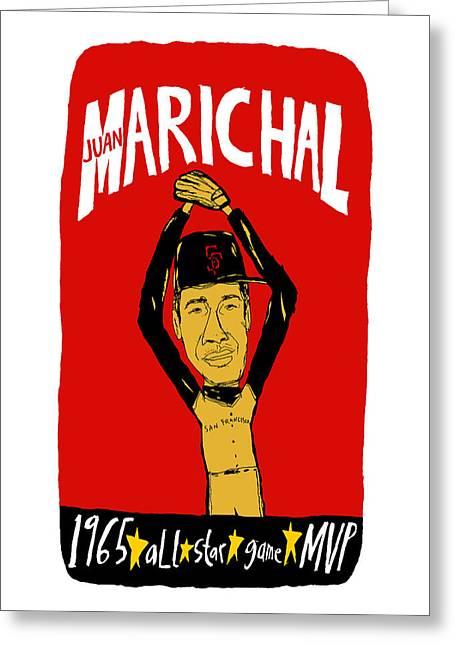 Juan Marichal San Francisco Giants Greeting Card by Jay Perkins
