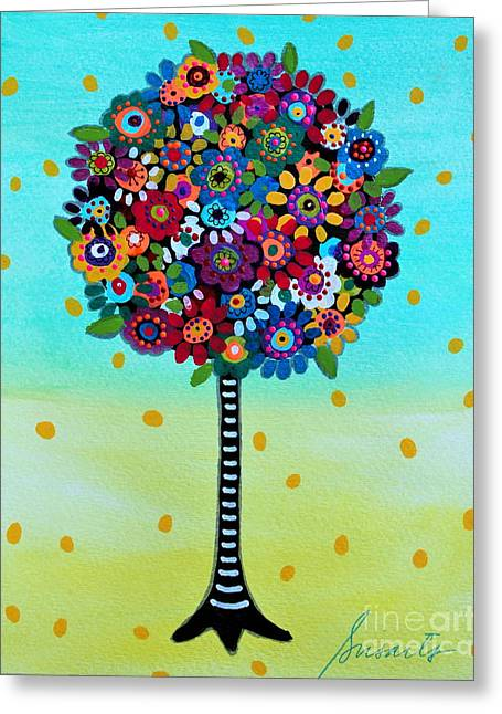 Greeting Card featuring the painting Jubilant Tree Of Life by Pristine Cartera Turkus