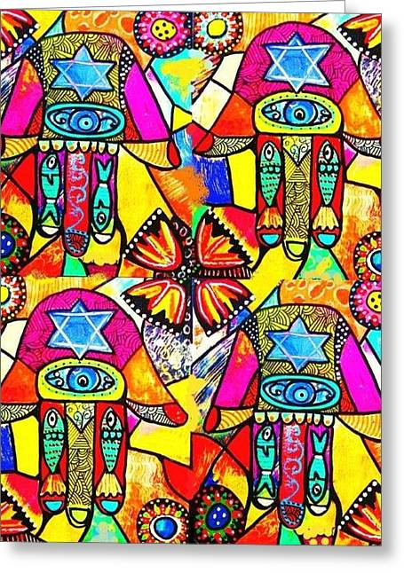 Chanukkah Greeting Cards - Judaica Hamsa Flower Tapestry Greeting Card by Sandra Silberzweig