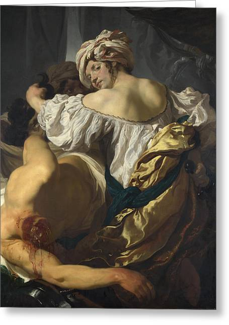 Judith In The Tent Of Holofernes Greeting Card