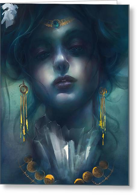 Greeting Card featuring the digital art Judith V1 by Te Hu