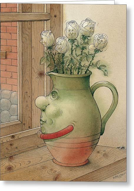 Jug And Roses Greeting Card by Kestutis Kasparavicius
