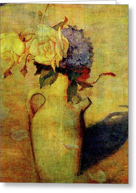 Jug With Yellow And Violet Flowers Greeting Card by Sarah Vernon
