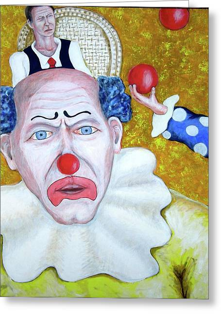 Jugglers And Clowns Greeting Card by Don Gentle
