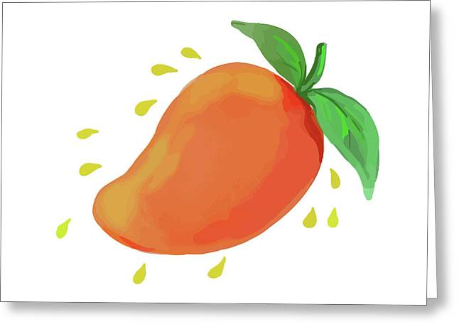 Juicy Mango Fruit Watercolor Greeting Card by Aloysius Patrimonio