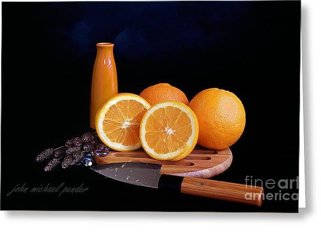Juicy Navel Orange's Greeting Card by John Michael Pender