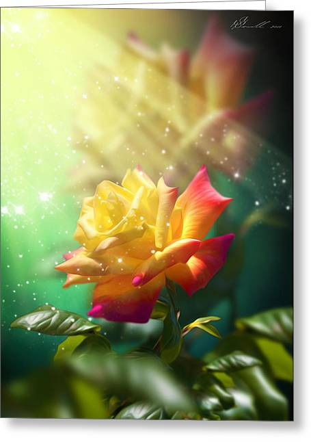Romance Mixed Media Greeting Cards - Juicy Rose Greeting Card by Svetlana Sewell