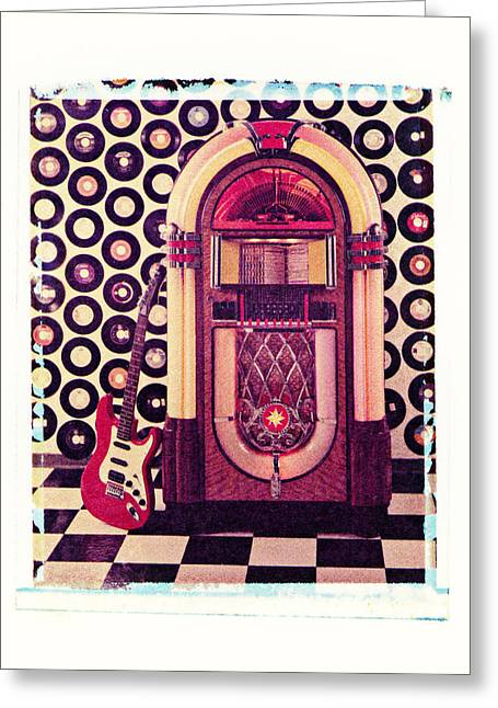 Rock N Roll Greeting Cards - Juke Box Polaroid transfer Greeting Card by Garry Gay
