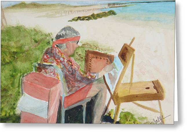 Greeting Card featuring the painting Julia Painting At Boynton Inlet Beach  by Donna Walsh