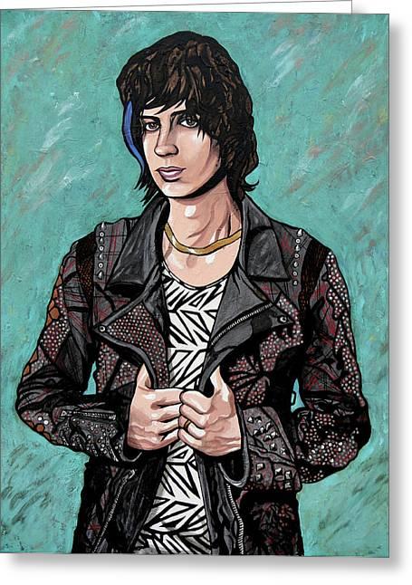 Greeting Card featuring the painting Julian Casablancas by Sarah Crumpler