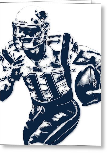 Julian Edelman New England Patriots Pixel Art 2 Greeting Card by Joe Hamilton