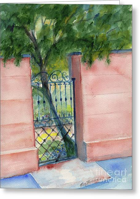 Juliette Low Garden Gate Greeting Card by Doris Blessington