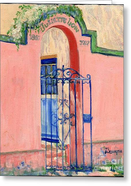 Greeting Card featuring the painting Juliette Low Garden Gate Savannah by Doris Blessington