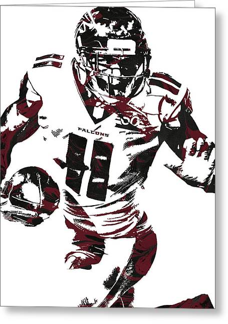 Julio Jones Atlanta Falcons Pixel Art 4 Greeting Card