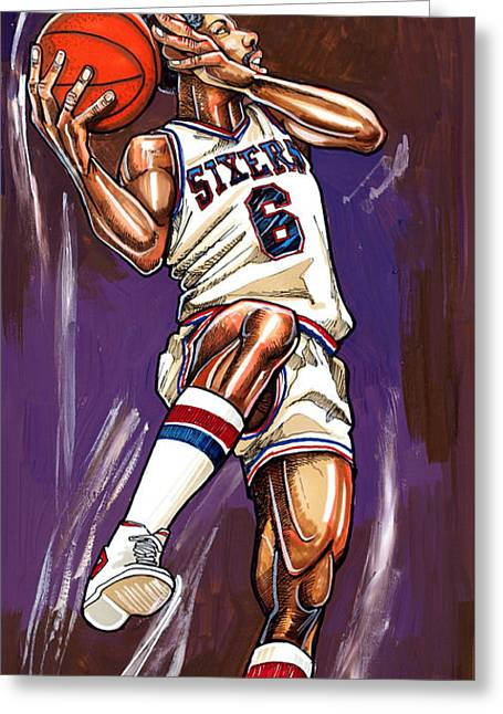 Julius Erving Greeting Card by Dave Olsen
