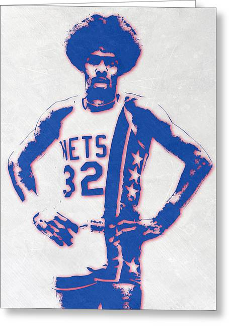 Julius Erving New York Nets Pixel Art Greeting Card by Joe Hamilton