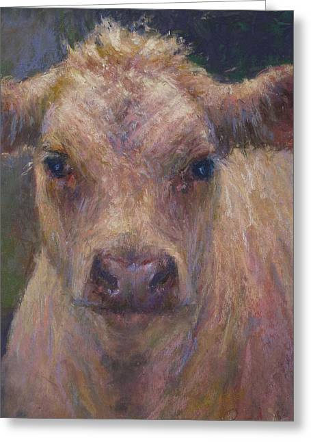 Farm Animals Pastels Greeting Cards - Julius Greeting Card by Susan Williamson