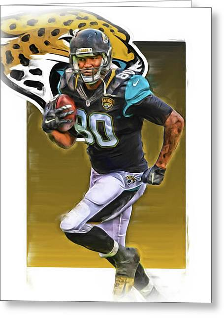 Julius Thomas Jacksonville Jaguars Oil Art Greeting Card by Joe Hamilton