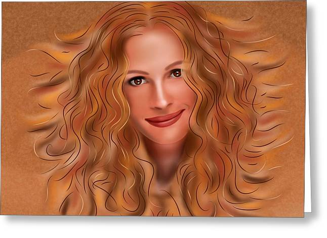 Julorobani - Julia Roberts Portrait Greeting Card by Cersatti