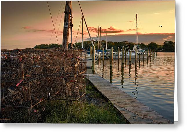 Crab Pots And Sailboats Greeting Card by Glenn Gemmell