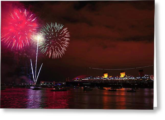 July 4th Fireworks - Long Beach California Greeting Card by Ram Vasudev