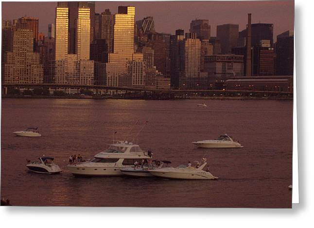 July 4th On The Hudson Greeting Card by Wendy Uvino