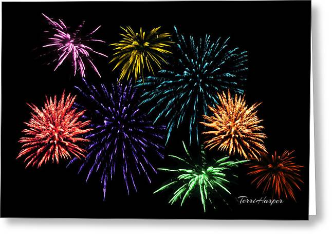July Fireworks Montage Greeting Card