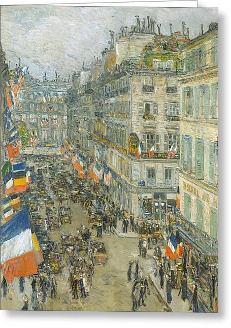 July Fourteenth, Rue Daunou Greeting Card by Childe Hassam
