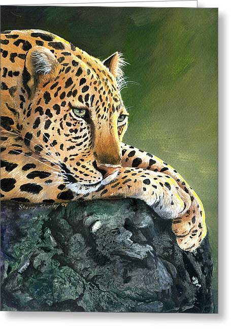 Greeting Card featuring the painting Jumanji by Sherry Shipley