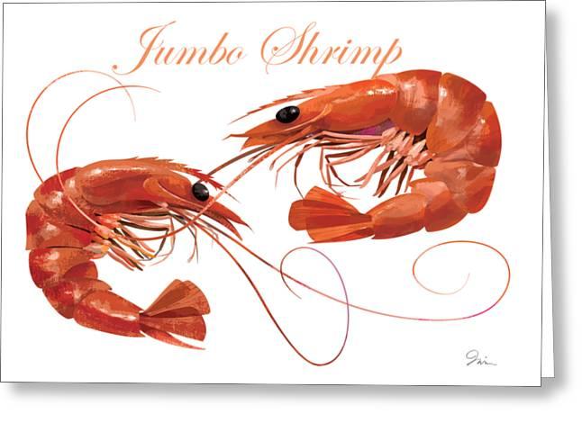 Jumbo Shrimp Greeting Card by Trevor Irvin