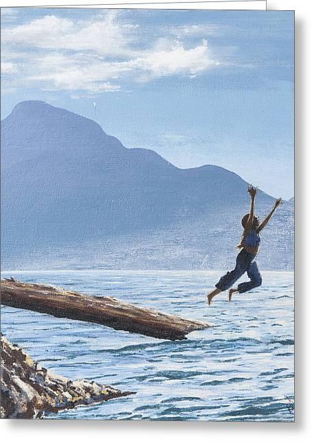 Jump Greeting Card by Barbara San Severino