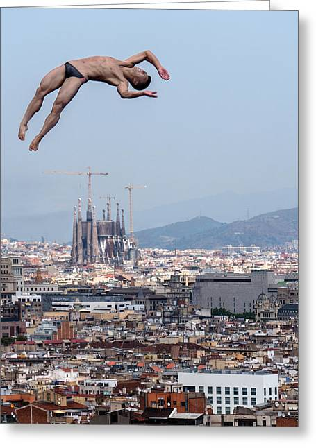 Jump Greeting Card by Klaus Lenzen