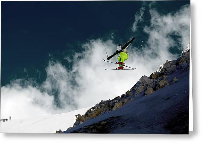 Alpine Skiing Prints Greeting Cards - Jump Greeting Card by Iurii Zaika