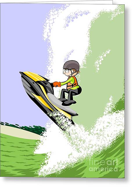 Jumping Boldly Among The Giant Waves In A Yellow Jet Ski Greeting Card