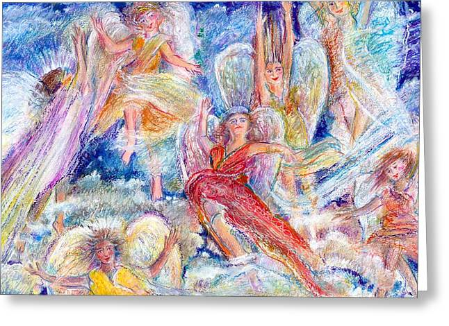 Jumping For Joy Angels Greeting Card by Laurie Parker