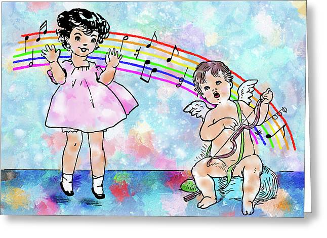 Jumping For Joy - Vintage Child And Cupid Music Illustration Greeting Card