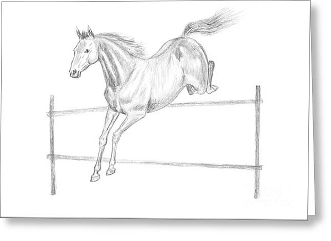 Jumping Horse Drawing Greeting Card by GoodMood Art