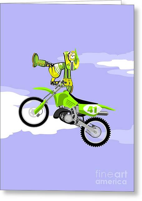Jumping In Freestyle On A Green Motocross Greeting Card