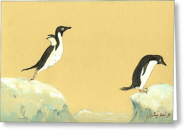 Jumping Penguins Greeting Card