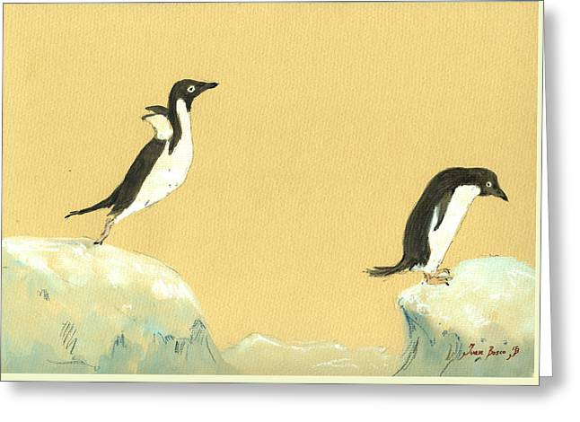 Jumping Penguins Greeting Card by Juan  Bosco