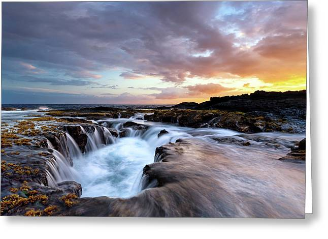 June Blow Hole Sunset Greeting Card
