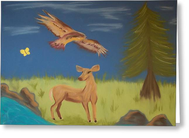 American Eagle Pastels Greeting Cards - June totems Greeting Card by Christine Crosby