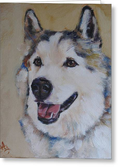 Recently Sold -  - Husky Greeting Cards - Juneau Greeting Card by Julie Dalton Gourgues
