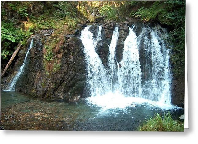 Juneau Waterfall Greeting Card by Janet  Hall