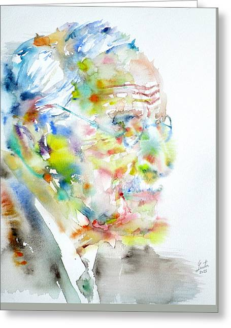 Jung - Watercolor Portrait.4 Greeting Card by Fabrizio Cassetta