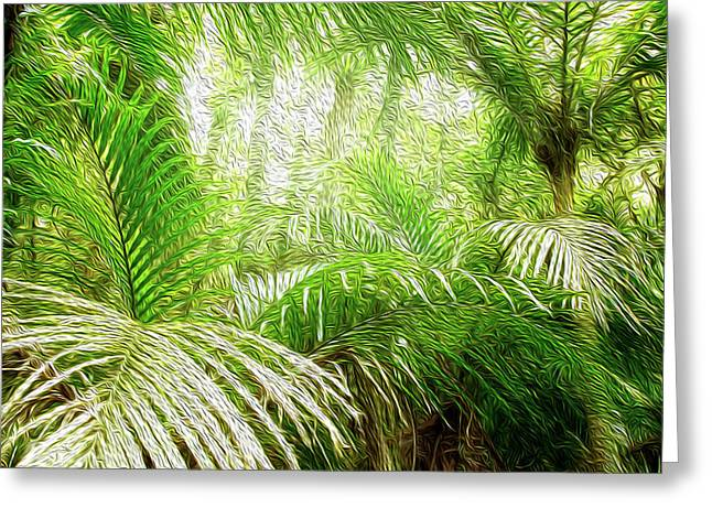 Jungle Abstract 1 Greeting Card by Les Cunliffe