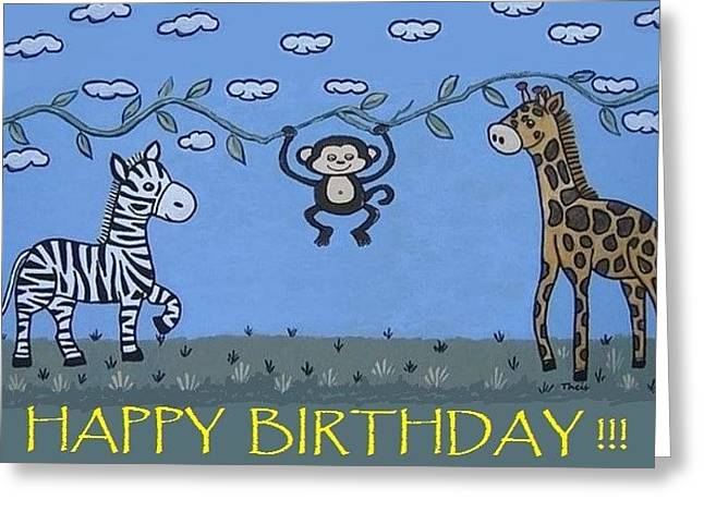Jungle Animals Happy Birthday Greeting Card
