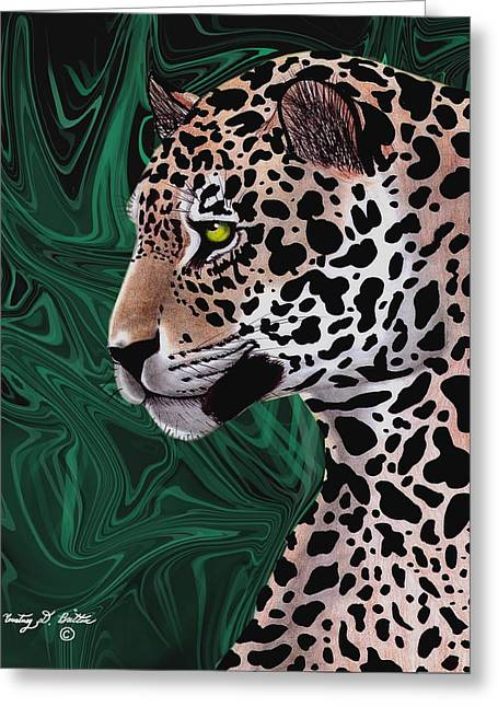 Jungle Cat Greeting Card by Courtney Britton